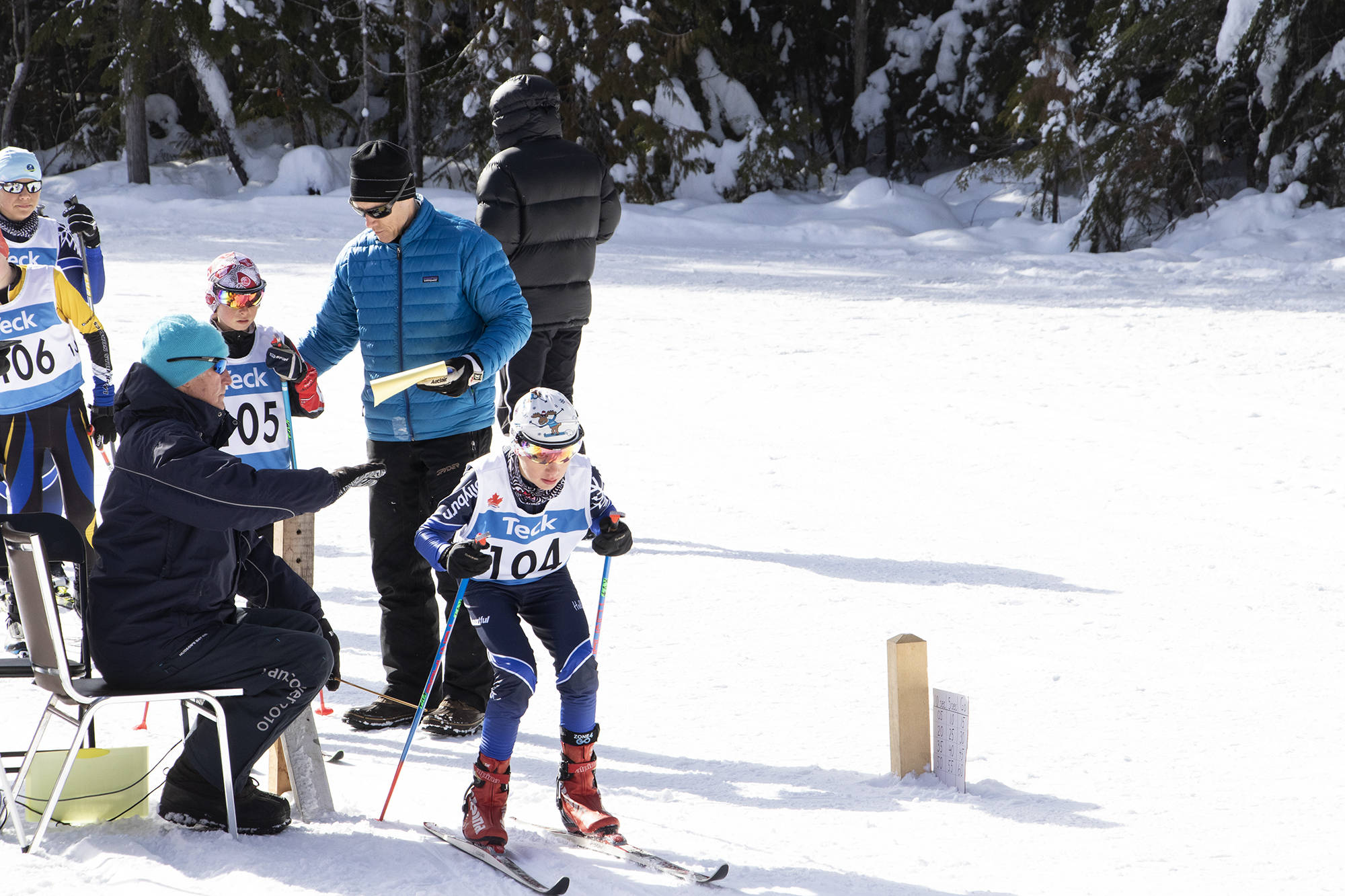 Cyrus Nabavi of the Hollyburn Ski Club hunkers down, ready to launch off as the start clock counts down during the Teck BC Championships. (Jodi Brak/Salmon Arm Observer)