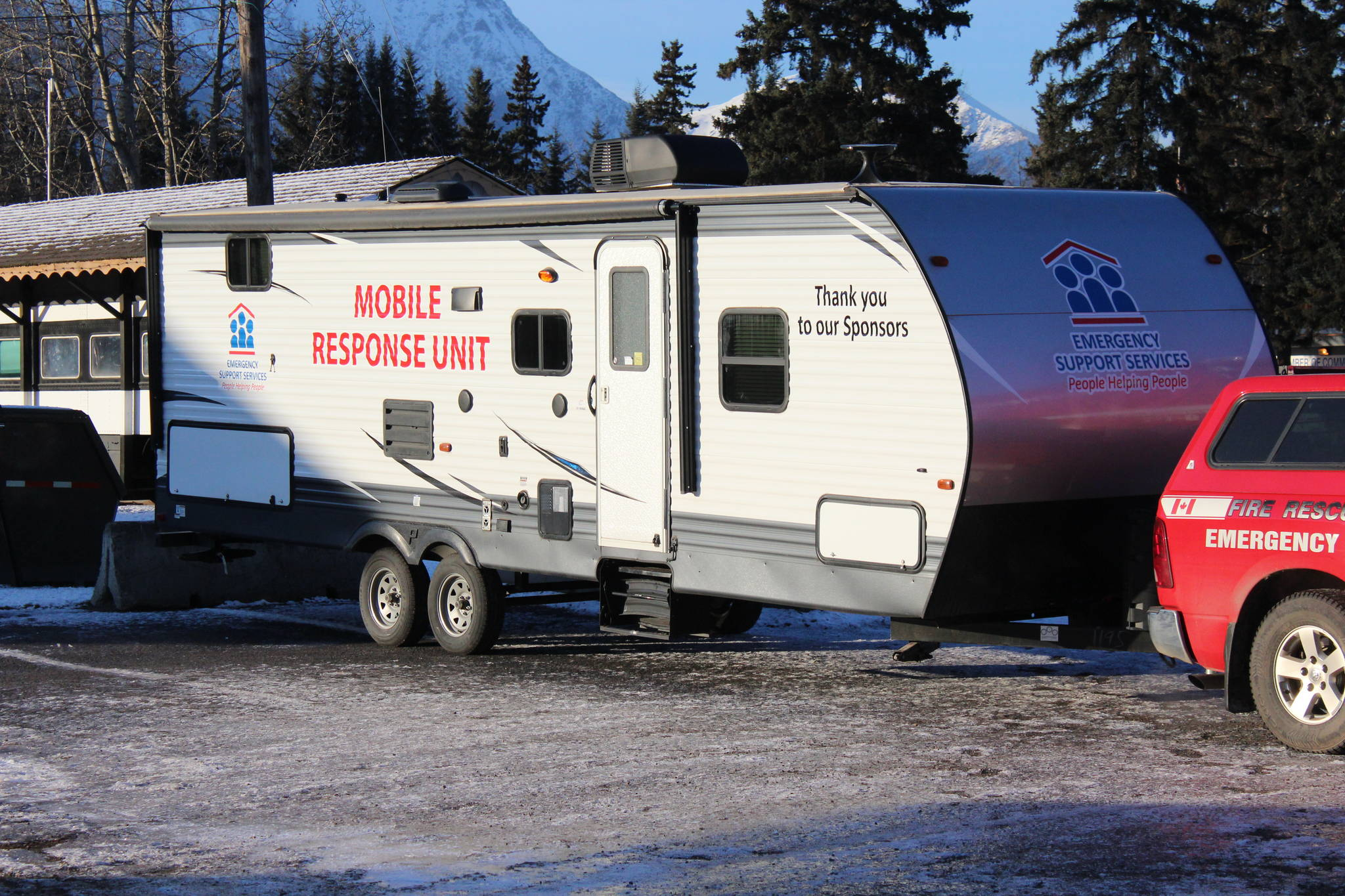 The Bulkley Valley Emergency Support Services new Mobile Response Unit made its inaugural appearance as part of the Emergency Services food drive for the Salvation Army Nov. 30. (Thom Barker photo)