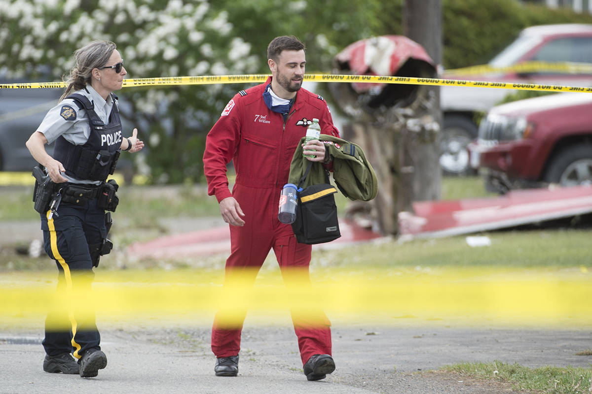 Left: Canadian Forces Snowbird pilot Joel Wilson walks past the crash site of one of his team's planes in Kamloops, B.C., Sunday, May 17, 2020 Right: Captain Jenn Casey.