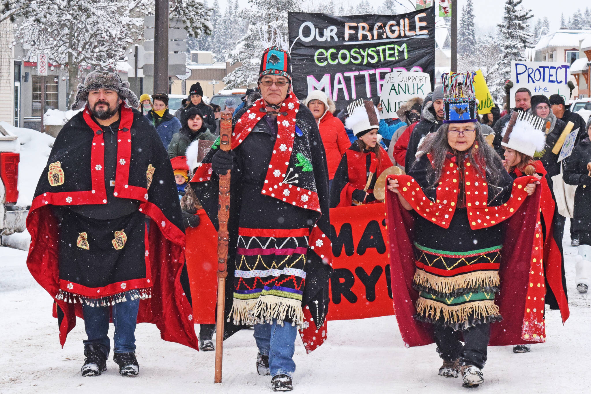 People gathered for a solidarity rally in Smithers after hereditary chiefs served Coastal GasLink with an eviction notice from a worksite on traditional Wet'suwet'en territory near Houston. (File photo)